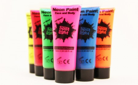 Pakket 6 flesjes Neonverf UV Blacklight Body and Face Paint